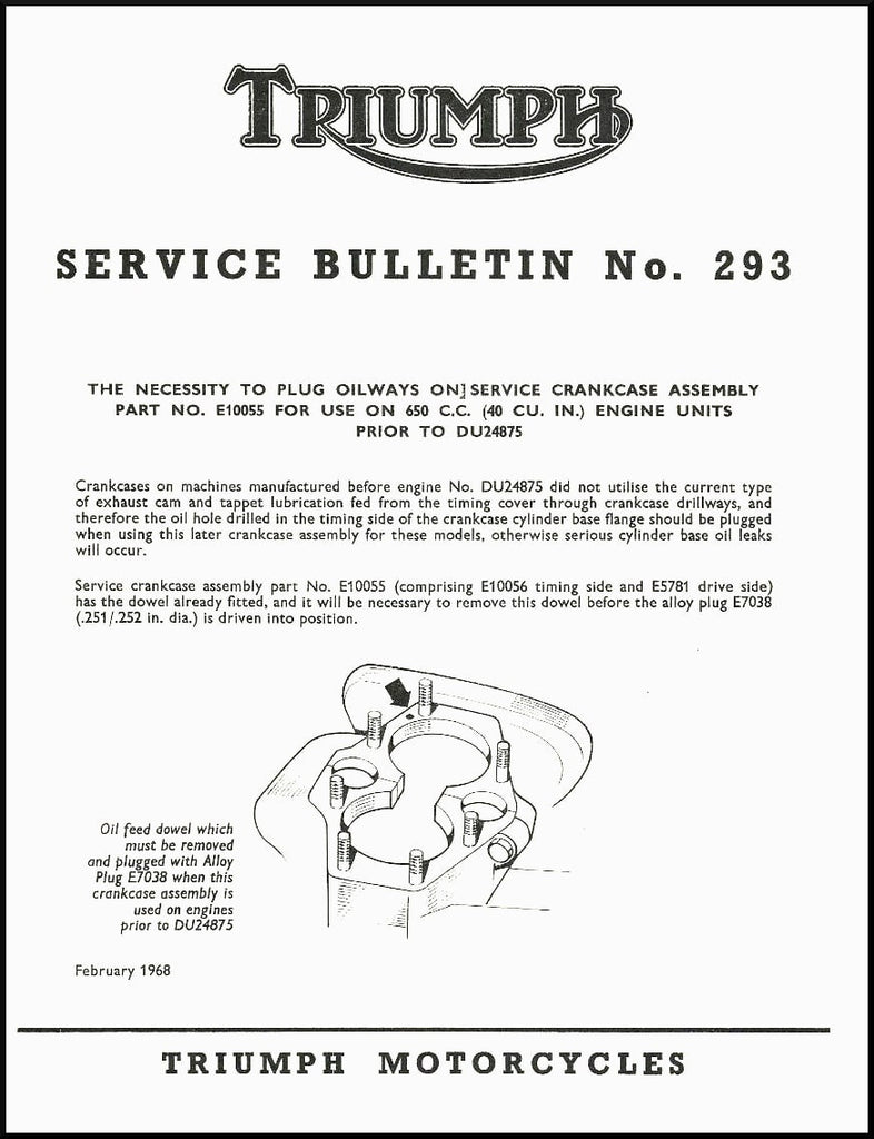 Service Bulletin: Plug Oilways On Service Crankcase Assembly