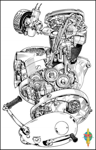 BSA A65 Engine Drawing