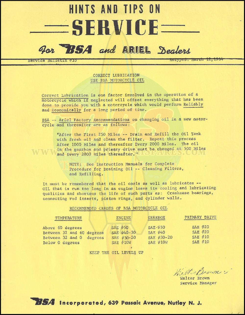 Service Bulletin: Correct Lubrication For BSA Motorcycles