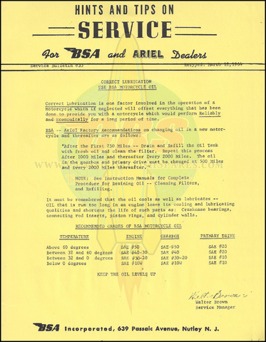 BSA Engine Oil Service Bulletin