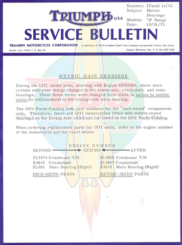 Metric Main Bearing Service Bulletin