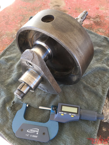 Measuring A Triumph Crankshaft Using A Micrometer