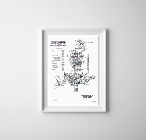 Triumph Exploded View Poster Hanging On Wall