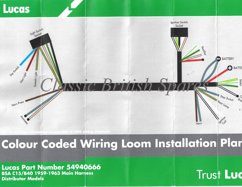 early lucas c15 b40 cloth wiring harness 5494066. Black Bedroom Furniture Sets. Home Design Ideas