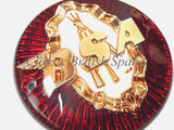 "BSA 3 1/4"" Round Gas Tank Badges (1 PAIR) - 65-8220 - Red / Gold"