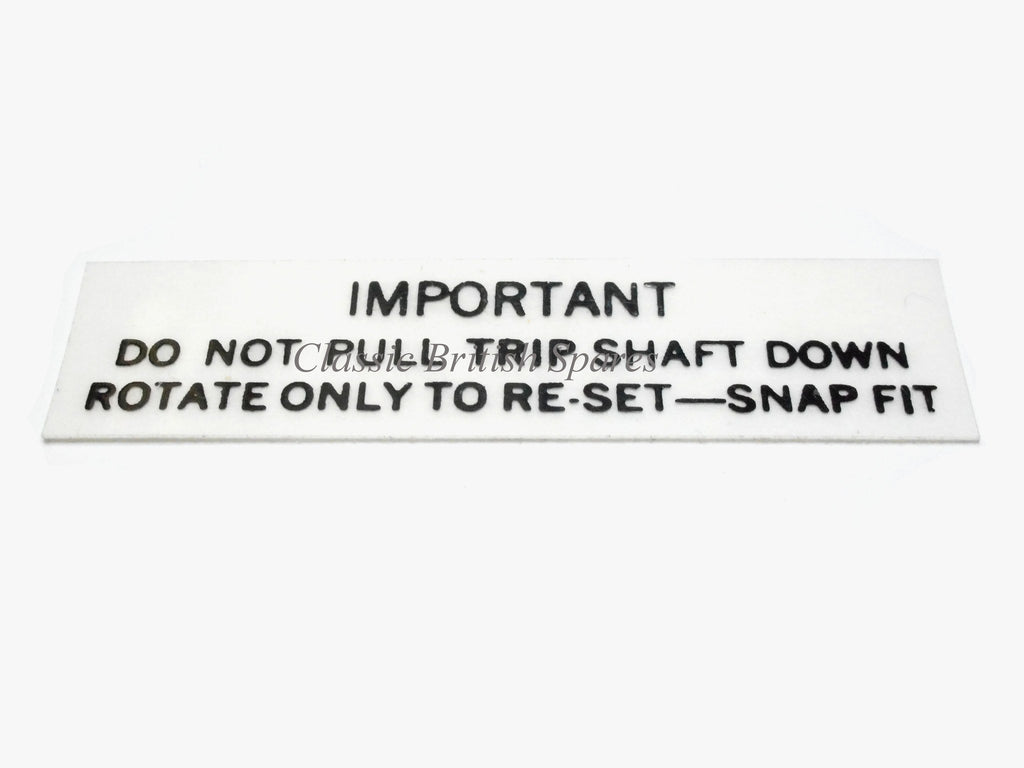 Smiths Magnetic Speedometer Trip Reset Decal