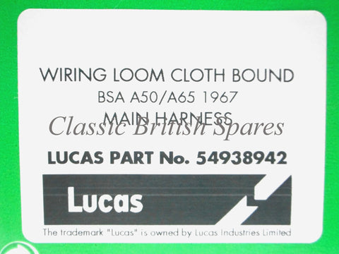 bsa a65 wiring diagram bsa image wiring diagram bsa a65 1967 only lucas cloth wiring harness 54938942 classic on bsa a65 wiring diagram