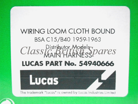 Bsa c15 wiring diagram bmw e fuse box fuse panel in english bmw m early lucas c b cloth wiring harness classic bsa early distributor c15 b40 lucas cloth bound wiring cheapraybanclubmaster Image collections