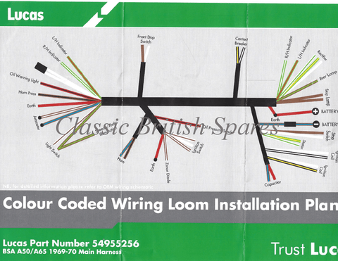 bsa a50 wiring diagram bsa motorcycle wiring diagram bsa lucas cloth bound main wiring harness 54955258 1969-70 a50 a65 #2
