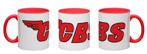 CBS White W/ Red Handle & Inside Coffee Mug