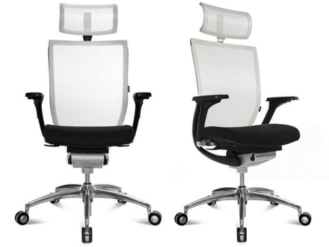TITAN 10 LEATHER WHITE (WITH HEADREST)