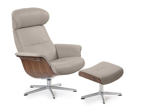 TIMEOUT RECLINER NATURELLE CEMENT / WALNUT