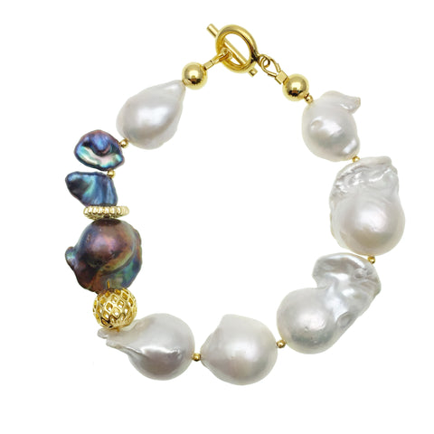 White & Purple Baroque Freshwater Pearls Bracelet AB021