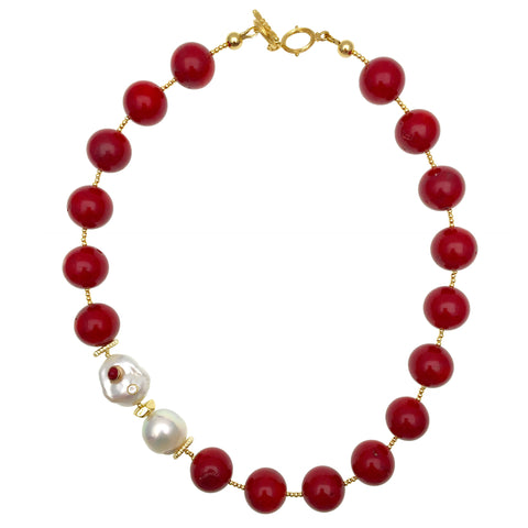 Nugget Bamboo Coral & Freshwater Pearls Necklace AN018