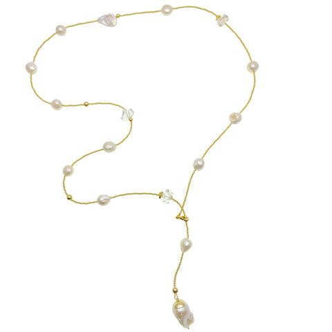 Freshwater Pearls With Baroque & White Quartz Y Necklace AN061