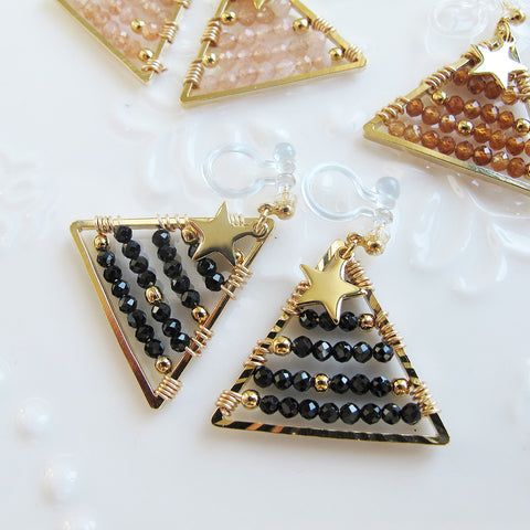 Wire wrapped black spinel triangle shape clip on earrings CE051 ...