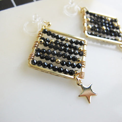 Wire wrapped black spinel square shape clip on earrings CE052 ...