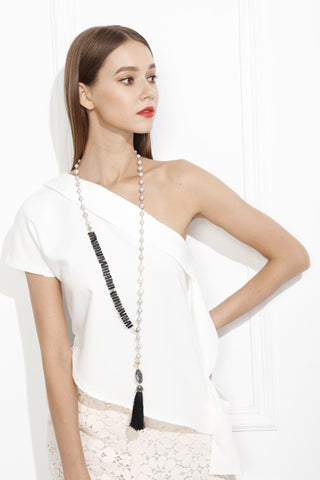 Freshwater Pearls with Black Coral Tassel Lariat Necklace MN007