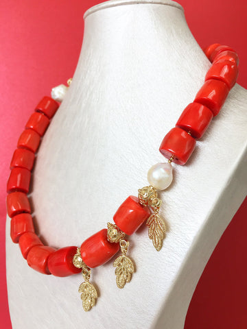 Bamboo Coral and Cloisonn\u00e9 Necklace and Earrings Set