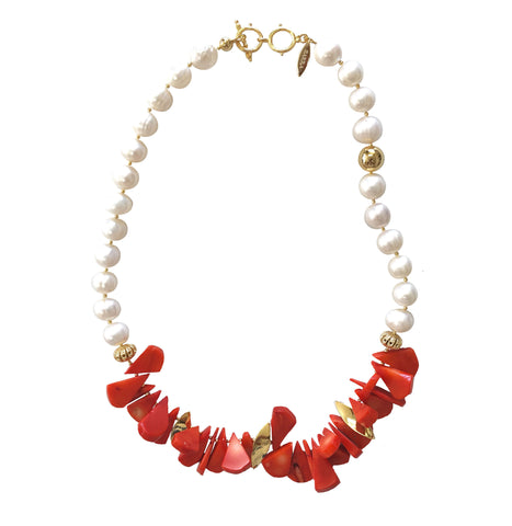 Floral Coral With Natural Freshwater Pearls Statement Necklace MN057