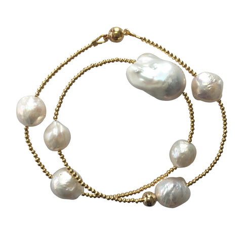 Double layers nugget baroque pearls with Edison pearls bracelet IPB002