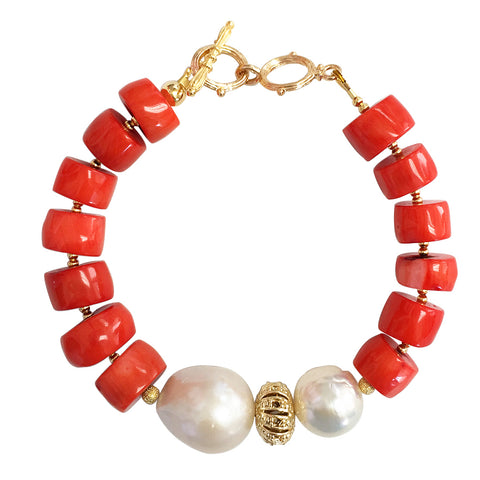 Rondelle Orange Coral With Natural Baroque Pearls Bracelet MB029