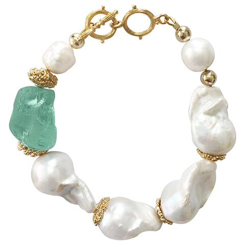 Baroque freshwater pearls with green fluorite bracelet NPB005