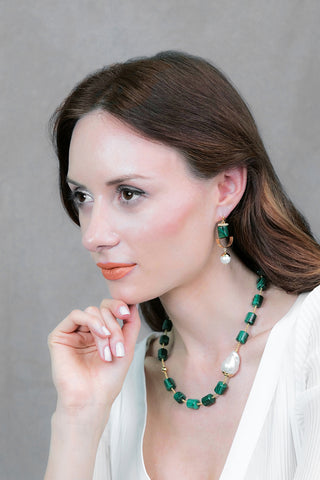 Malachite With Baroque Pearl Necklace AN037