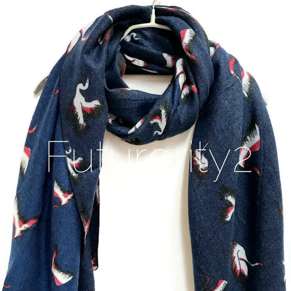White Heron Birds Navy Blue Scarf/Autumn Winter Scarf /Gifts For Her /Gifts For Mother /Women Scarves /Handmade Accessories /Christmas Gifts