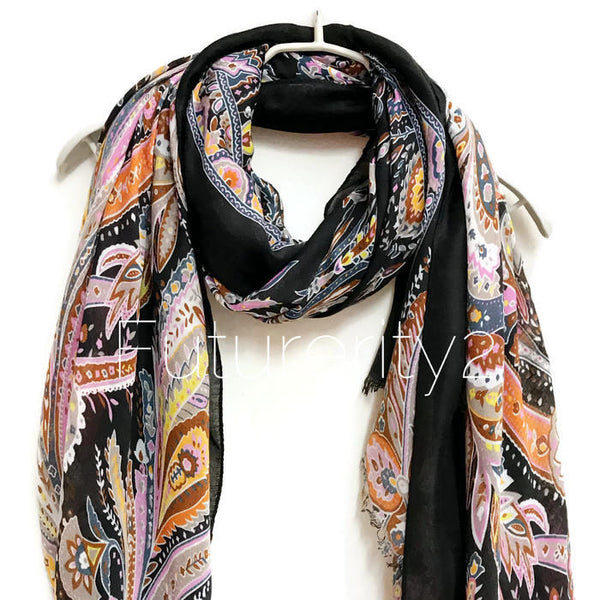 Paisley Black Cashmere Scarf/Spring Summer Scarf /Autumn Winter Scarf /Gifts For Her/Gifts For Mother/Handmade  Accessories/ Christmas Gifts