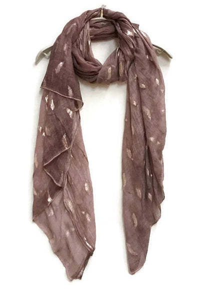 Small Silver Foil Feathers Light Purple Scarf,Spring Summer Scarf,Autumn Winter Scarf,Gifts For Her,Women Scarves,Accessories,Christmas Gif