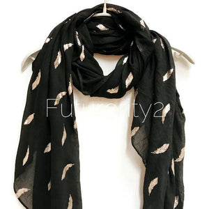 Small Silver Foil Feathers Black Scarf