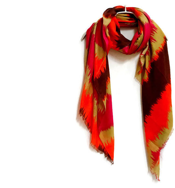 Two Tone Watercolour Red Brown Scarf / Spring Summer Autumn Scarf / Women Scarves / Gifts For Her / Handmade Accessories /Christmas Gifts