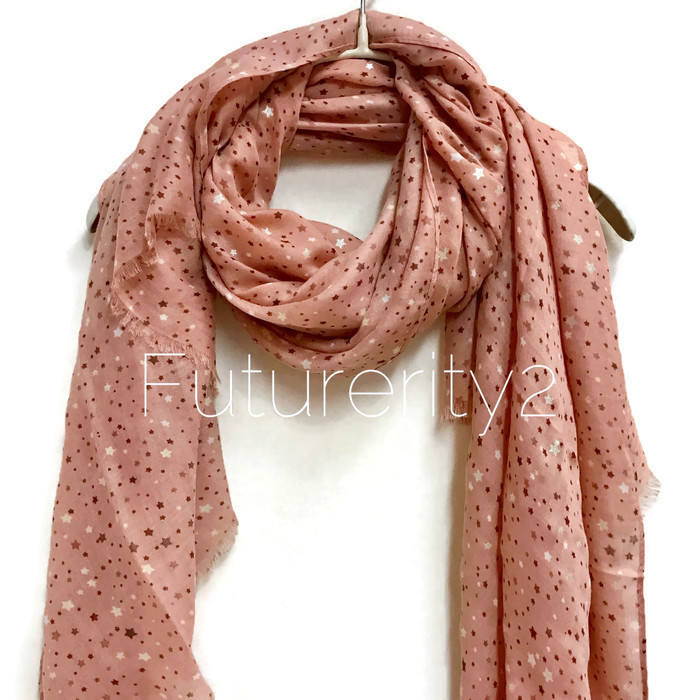 Little Stars Coral Pink Scarf / Spring Summer Scarf /Autumn Scarf /Gifts For Mother /Gifts For Her /Handmade Accessories /Christmas Gifts