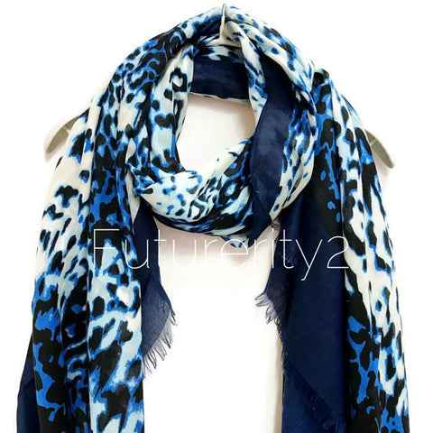 Leopard Print With Blue Trim Cashmere Scarf / Summer Scarf / Autumn Winter Scarf / Gift For Her / Womens Scarves / Handmade Accessories