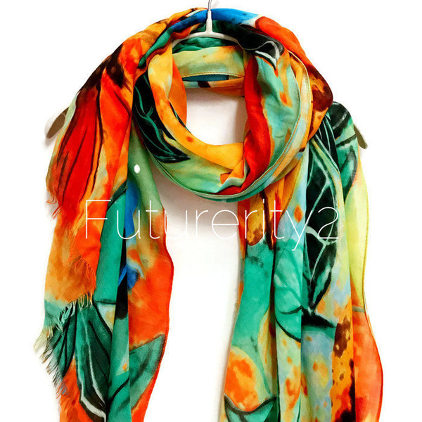 Watercolour Large Flower Cashmere Scarf / Autumn Winter Scarf / Gift For Her / Gifts For Mother / Women Scarves / Handmade Accessories
