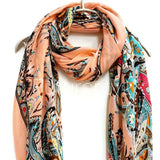 Paisley Peach Cashmere Scarf/Spring Summer Scarf /Autumn Winter Scarf /Gifts For Her/Gifts For Mother/ Handmade Accessories / Christmas