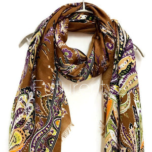 Paisley Brown Cashmere Scarf/Spring Summer Scarf /Autumn Winter Scarf /Gifts For Her/Gifts For Mother/ Handmade Accessories /Christmas Gifts