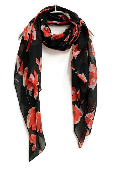 Watercolour Poppy Black Scarf /Spring Summer Scarf /Autumn Scarf /Gifts For Her /Gifts For Mother /Handmade Accessories /Christmas Gifts