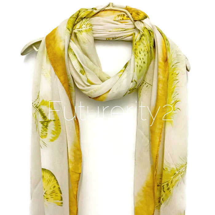 Floating Feathers With Yellow Trim Cotton Scarf