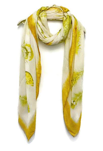 Floating Feathers With Yellow Trim Scarf/Spring Summer Scarf/Gifts For Her/Gifts For Mother/Scarves And Wraps/Handmade Accessories