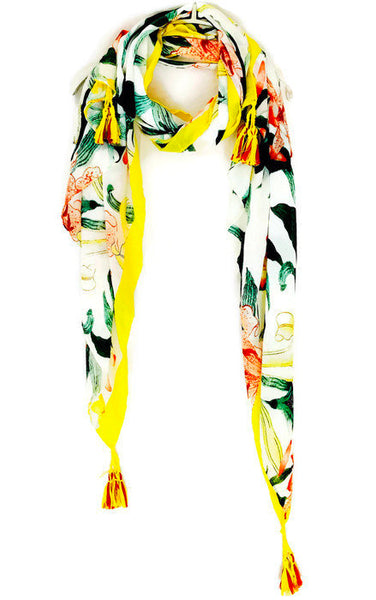 Watercolour Lily With Tassels Yellow Trim Scarf/Spring Summer Autumn Scarf/Women Scarves/Gifts For Her/Gifts For Mother/Handmade Accessories