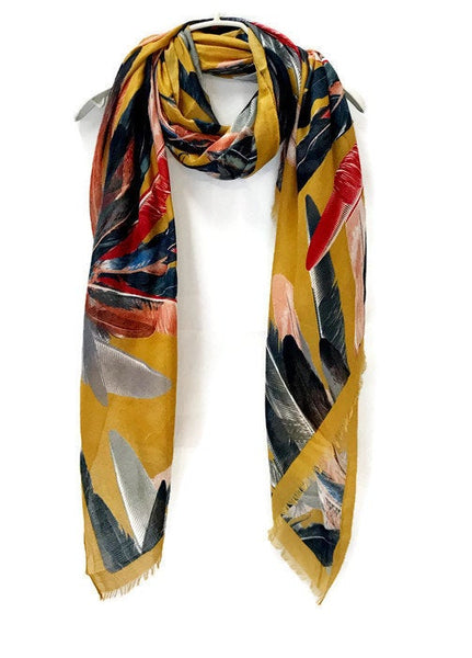 Bohemian Inspired Watercolour Feathers Mustard Yellow Scarf/Spring Summer Autumn Scarf/Gifts For Mother/Gifts For Her/Scarf For Women