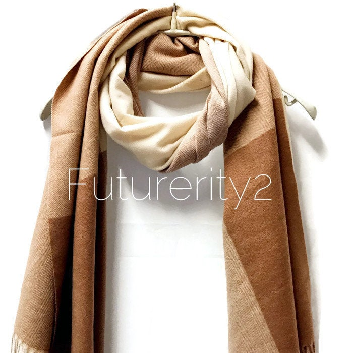 Cashmere Beige Brown Scarf/Autumn Winter Scarf/Gifts For Mother/Gifts For Her/Gifts Idea/Scarf For Women/Christmas Gifts/Handmade