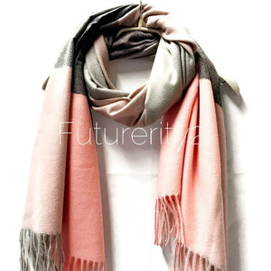 Cashmere Pink Grey Scarf/Autumn Winter Scarf/Gifts For Mother/Gifts For Her/Gifts Idea/Scarf For Women/Christmas Gifts/Handmade