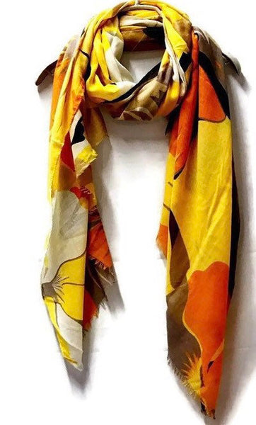 Huge Watercolour Flower Yellow Cotton Scarf