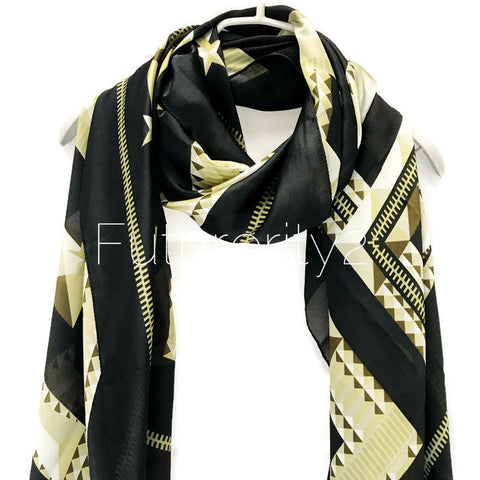 Zipper Design Square Pattern Black Beige Silk Scarf/Spring Summer Scarf/Autumn Scarf/Gifts For Her/Gifts For Mother/Women Scarves/Accessorie