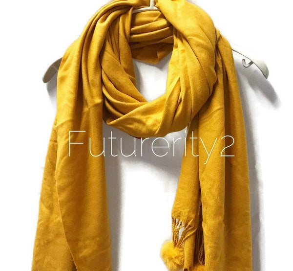 Cashmere With Faux Fur Ponpon Mustard Yellow Green Scarf/Autumn Winter Scarf/Gifts For Mother/Gifts For Her/Scarves For Women/Christmas Gift