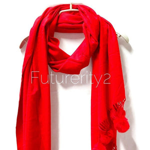 Cashmere With Faux Fur Ponpon Red Scarf/Autumn Winter Scarf/Gifts For Mother/Gifts For Her/Scarves For Women/Christmas Gifts