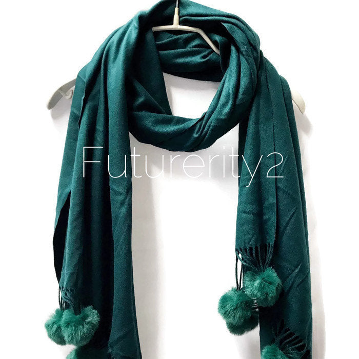 Cashmere With Faux Fur Ponpon Dark Green Scarf/Autumn Winter Scarf/Gifts For Mother/Gifts For Her/Scarves For Women/Christmas Gifts